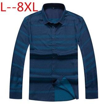 Plus size 8XL7XL autumn spring mens striped casual shirts long sleeve 100% cotton dress shirt men retro style camiseta masculina
