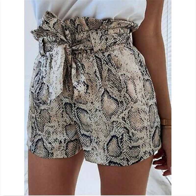 Women's Snake Skin Shorts High Waisted Stylish Tie Belt Short Pants Ladies' New Fashionable Summer Short Trousers Hot Selling