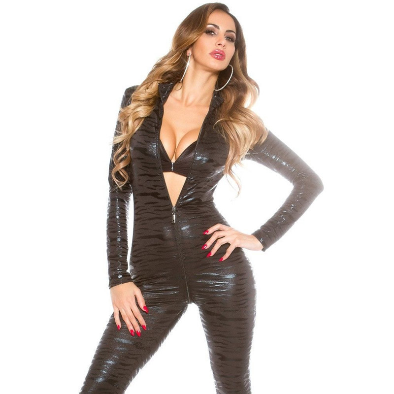 Buy AIIOU Sexy Women Faux Leather Catsuit Jumpsuit Latex Long Sleeves Female Rompers Overalls Zipper Black Jumpsuit Women Clubwear