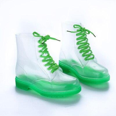 4fb29d3a29 Coreano de moda párrafo jalea cristal botas Martin Botas de lluvia  transparente Zapatos de agua zapatos