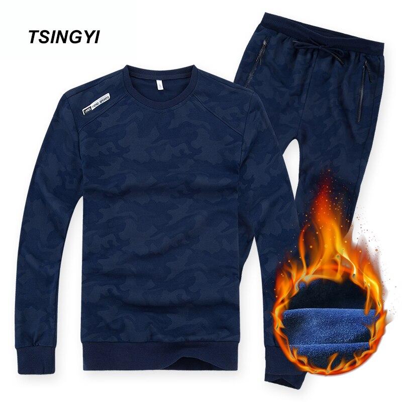 Tsingyi 8XL 6XL Fleece Warm Camouflage Autumn Winter Tracksuit Men Set Men's Sportswear Hoodie And Sweatpant Mens Sweat Suits