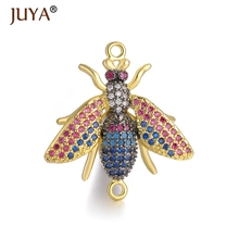 1 piece 25mm*26mm luxury Multi-color Cubic Zirconia Insect Bee Pendant Charm Connectors For Jewelry Making DIY Craft Accessories