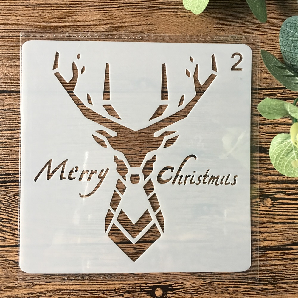 13cm Christmas Deer DIY Layering Stencils Wall Painting Scrapbook Coloring Embossing Album Decorative Paper Card Template