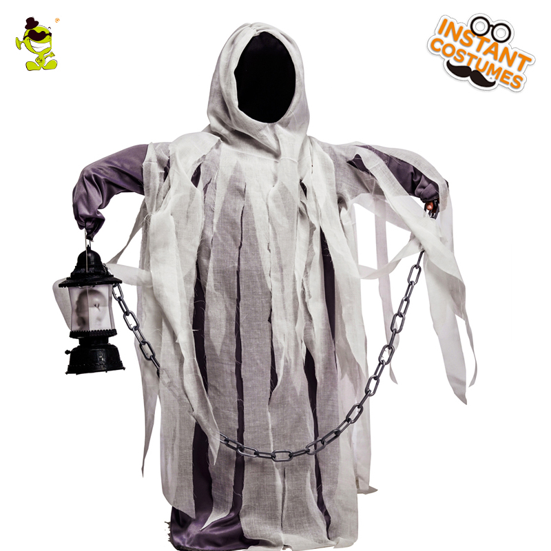 Halloween Party Children Ghost Costume Cosplay Devil Ghost With Hooded Robe Role Play Kids Ghost Costumes for Unisex