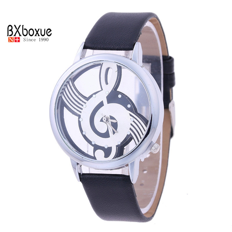 BXboxue Brand Women Quartz Hollow Musical Note Style leather WristWatch Fashion Ladies Gift Casual Watch Female Relogio Feminino in Quartz Watches from Watches