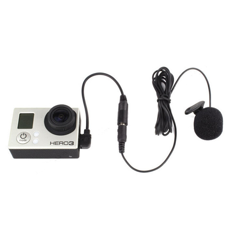 3.5mm Active Clip Microphone With Mini USB Audio Adapter Mic Cable For Gopro Hero 3 3+ 4 Action Camera Accessories Kit