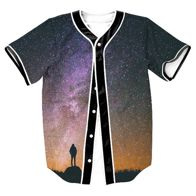 3efa661a1cb Fashion Baseball T-Shirt Unisex 3D Printed Galaxy Space Button Cardigan  Design Tee Shirt Harajuku Hip Hop Streetwear Casual Tops