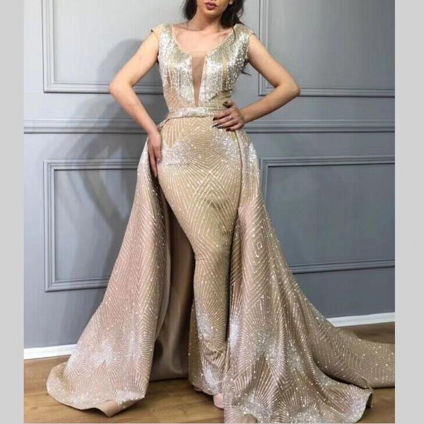 Dubaï longues robes De soirée sirène robes De bal détachable jupe paillettes 2019 nouvelles femmes robes De soirée formelles Vestido De Festa