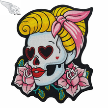 Loving Eyes Pin Up Girl Skull & Pink Rose Patch, Ladies Back Embroidered Iron On Patches 7*8.5 INCH Free Shipping