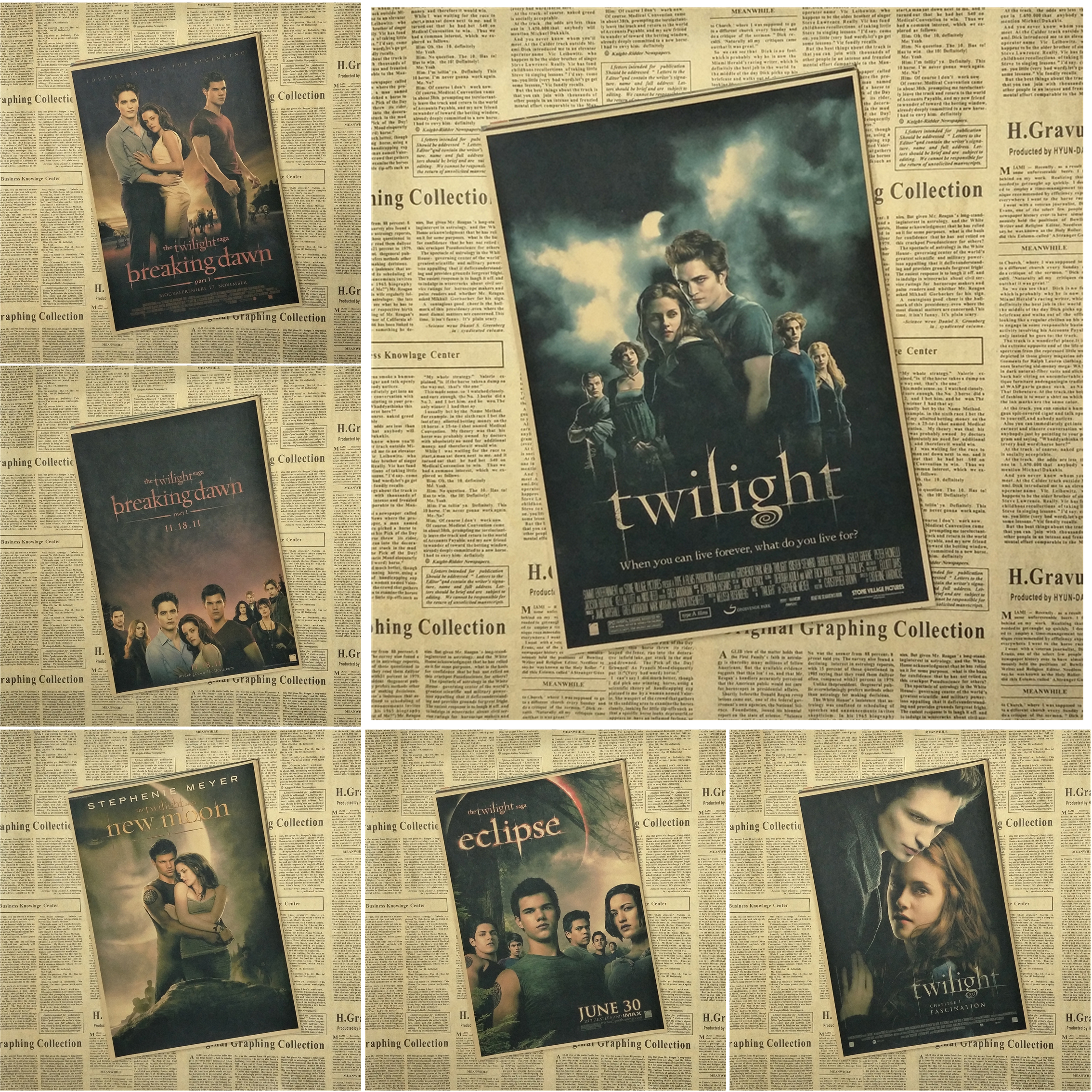Fashion Twilight New Moon Painting Vintage Old Movie Poster Classic ...