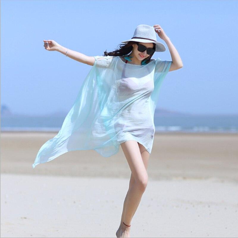 100 * 150cm 2018 Mode Strand Schal vertuschen Sommer feste Abnutzung - Bekleidungszubehör - Foto 5
