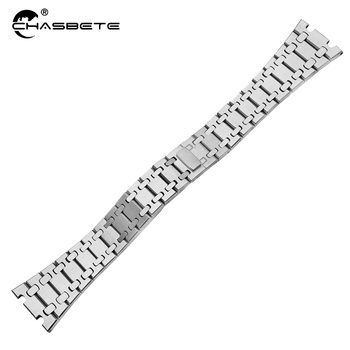 Stainless Steel Watch Band 23mm for AP Hidden Clasp Strap Loop Royal Oak Offshore Series Wrist Belt Bracelet Silver,black stainless steel watch band 26mm 28mm for diesel butterfly clasp strap wrist loop belt bracelet silver spring bar tool