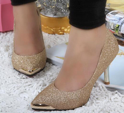Moda metal bico fino saltos finos mulher shoes DS170 ouro preto sexy de dança festa de casamento bombas sapatos para mulheres