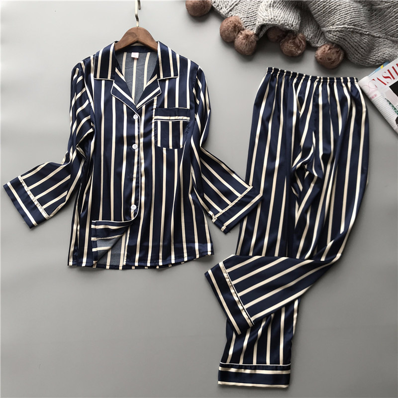 Lisacmvpnel Fashion Women Vertical Stripe Rayon Pajama Set Loose Leisure Spring Pajamas