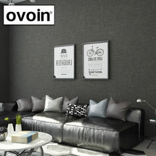블랙 메탈릭 플레인 리넨 질감 벽지 롤 현대 짠 효과 단순 솔리드 컬러 벽 종이 다크 그레이