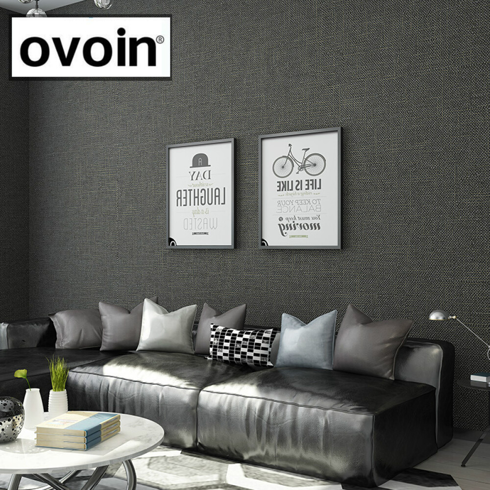 Us 19 95 43 Off Black Metallic Plain Linen Textured Wallpaper Roll Modern Woven Effect Simple Solid Color Wall Paper Dark Grey In Wallpapers From