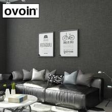 Rollo de papel pintado con textura de lino liso metálico negro efecto tejido moderno papel de pared de Color Simple gris oscuro