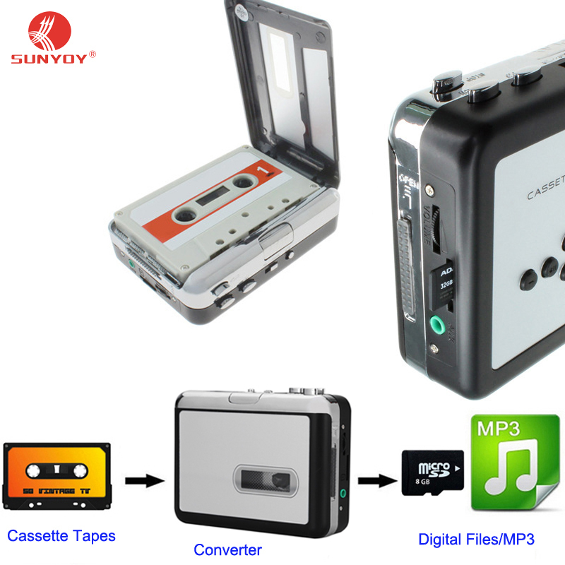 Portable Cassette Tape To MP3 Converter Record Cassette tapes to TF Card (Micro SD Card) Directly No PC Required with earphones