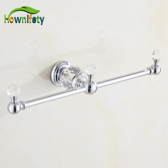 Solid Brass Bathroom Towel Rack Double Arm Towel Bar With Crystal Decorative  Bath Accessories