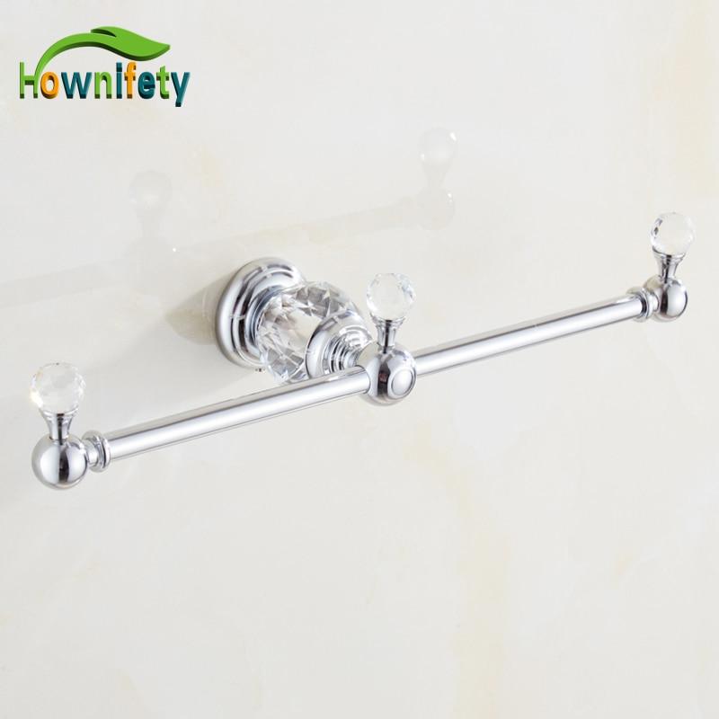 Solid Brass Bathroom Towel Rack Double Arm Towel Bar with Crystal Decorative Bath Accessories