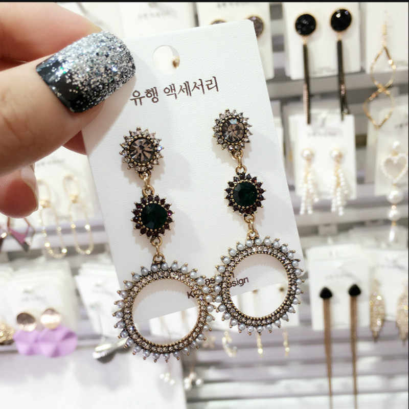 Vintage Crystal Round Women Dangle Earrings Long Personality Pendant Earrings For Women Drops Earrings Bohemian Earrings