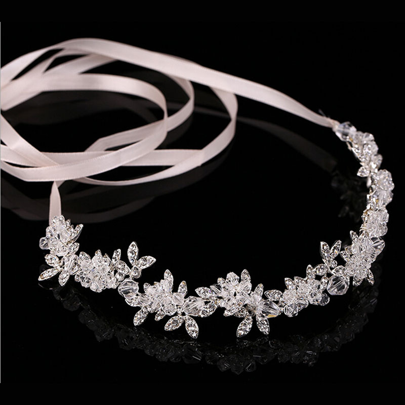 Metting Joura  Wedding Party Romantic Metal Leaf With Crystal Rhinestone Beads Headband Bride  Bridal  Hair Accessories metting joura vintage bohemian ethnic tribal flower print stone handmade elastic headband hair band design hair accessories