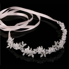 Metting Joura  Wedding Party Romantic Metal Leaf With Crystal Rhinestone Beads Headband Bride  Bridal  Hair Accessories