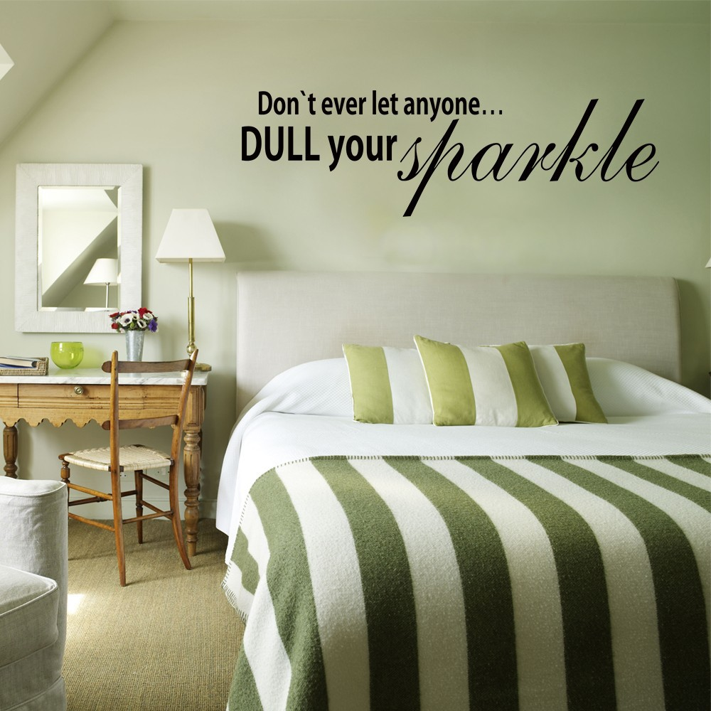 Dont ever let anyone dull your sparklehome decoration dont ever let anyone dull your sparklehome decoration inspirational wall sticker sparkle wall art decal home decor 11 x 34 in wall stickers from home amipublicfo Images