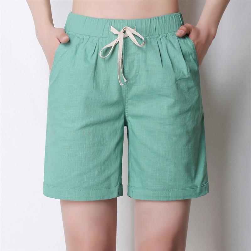 2017 المرأة الصيف السراويل الصلبة جيب مرونة عالية الخصر قصيرة فام الكتان السراويل عارضة فضفاض مع حزام السراويل زائد حجم 4xl