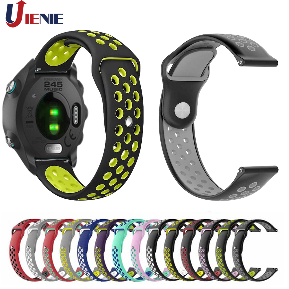 20MM Silicone Watchband Wrist Band Strap For Garmin Forerunner 245/245M/645/Vivoactive3/Vivomove HR Smart Bracelet Wristband