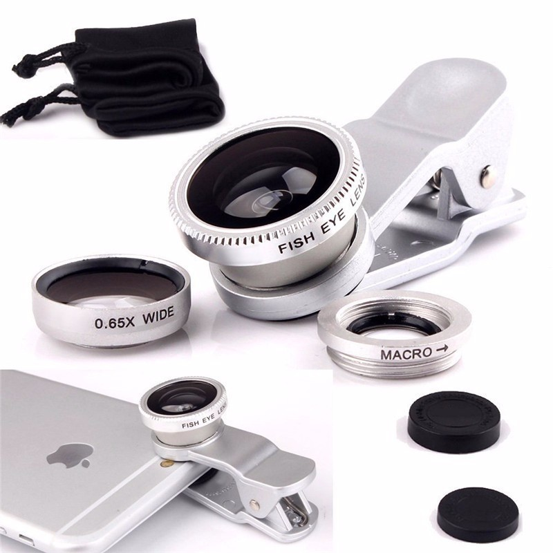 KHP 3 In 1 Universal Phone Lens Clip camera Mobile Phone Lenses For iphone 4 4S 5 5S 6 6S Samsung Galaxy S5 Fish Eye+Macro+Wide 5