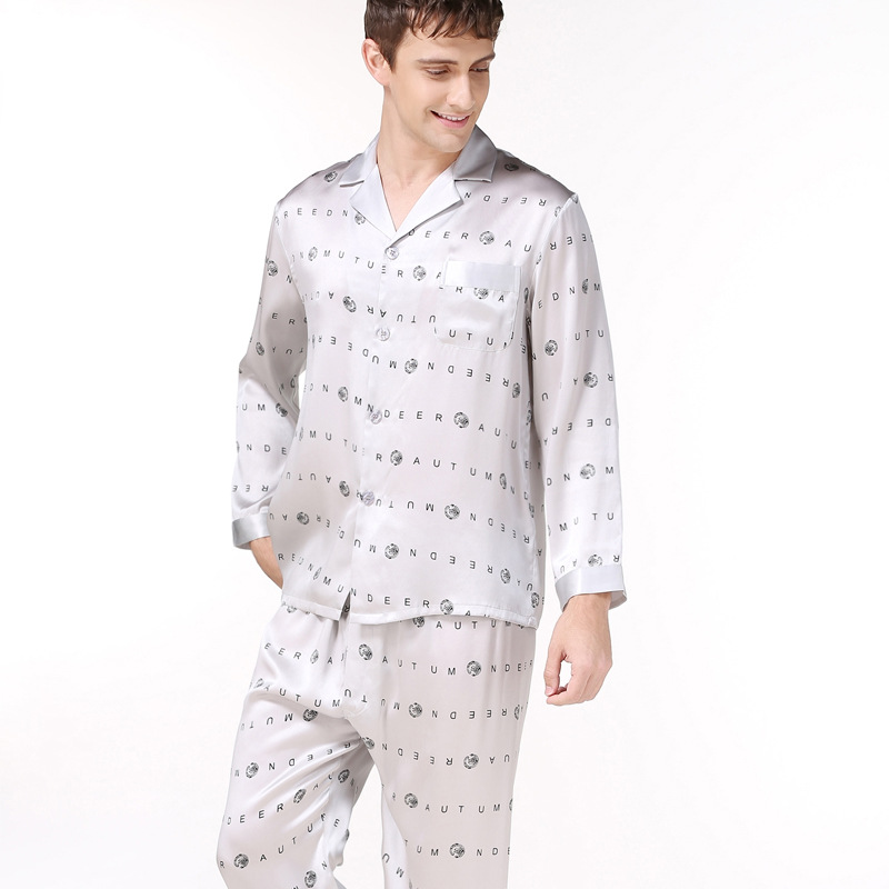 983390948a Fashion spring 100% real silk pajamas for men Sleepwear Long sleeve  printing male pyjama sets men simple elegant pajamas men-in Men s Pajama  Sets from ...