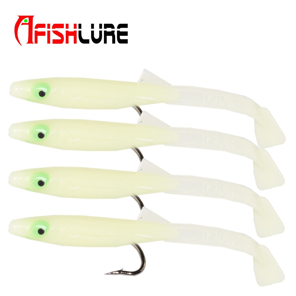 6pcs Afishlure Paddle Tail Sand Eel 8.5cm(3.3) leurre souple fishing bait sahte yem plastic lure luminous eel leurre peche