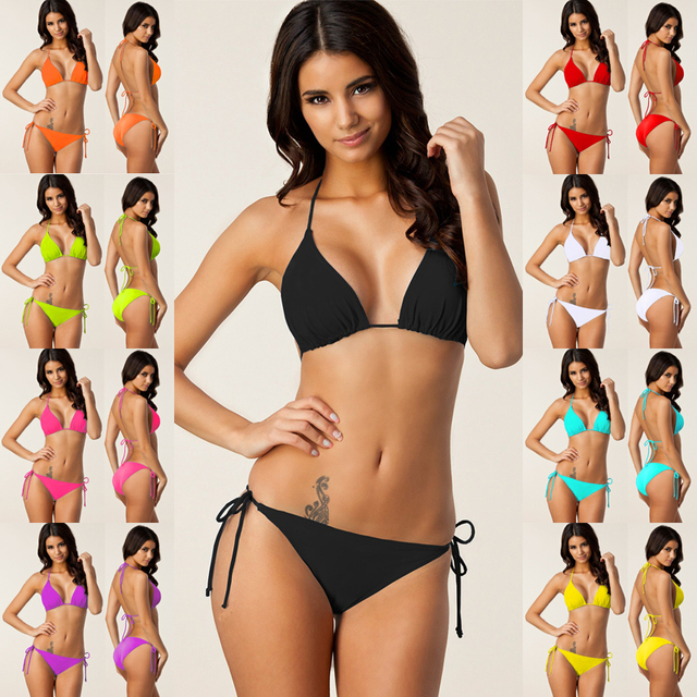 6219a13703 2018 Sexy Bikini Swimwear Women Plus size Swimsuit Bandage Bikini Set  Brazilian Summer Beach Bathing Suits female Biquini XXXL