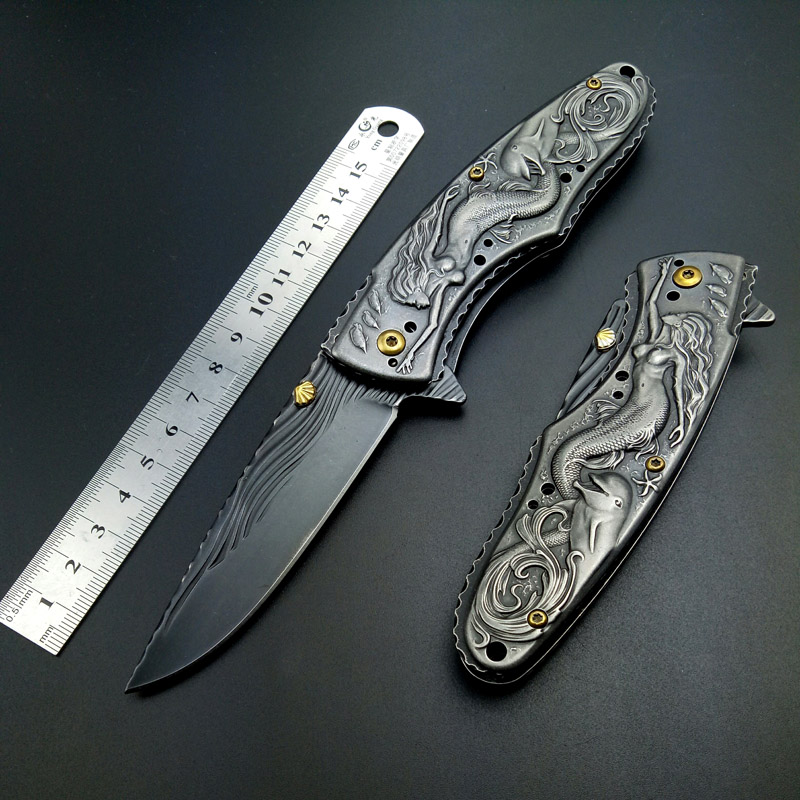 Stonewash Tactical Folding Knife Survival Camping Hunting Knives STAINLESS STEEL Outdoor Pocket Knife Mermaid Brtithday Gift Edc