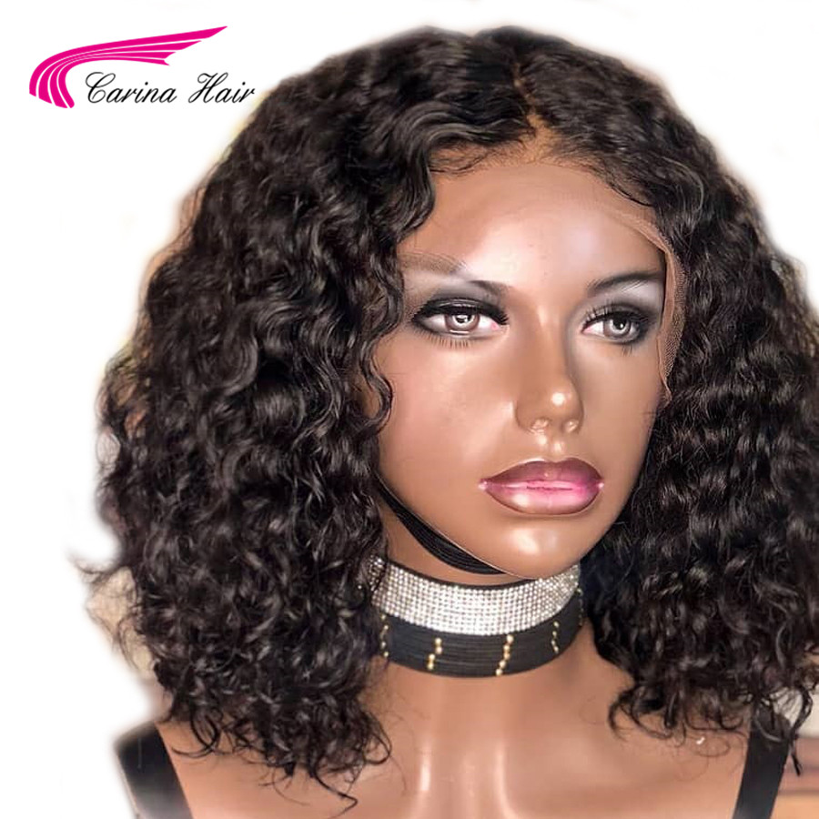 Carina 13x6 Short Lace Front Human Hair Wigs Pre Plucked Natural Hairline With Baby Hair Curly