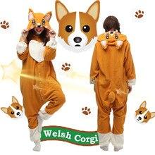 Frete Grátis Unisex Welsh Corgi Dog Cosplay Onesies Pijama