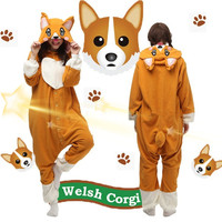 Free Shipping Unisex Welsh Corgi Dog Cosplay Costume Onesies Kigurumi Pajamas