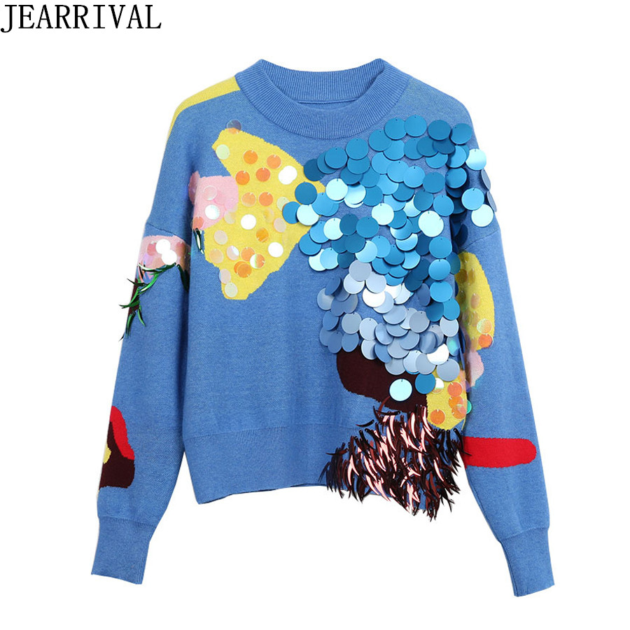 Brand Design Women Sweater 2018 New Spring Fashion Casual Long Sleeve O-Neck Sequines Pullover Knitted Jumper Pull Femme Hiver