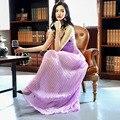 Высокое Качество Взлетно-Посадочной Полосы Длинные Летние Dress 2017 Новый Женская Мода Цветочные Вышивка Ремень Maxi Dress Элегантный Сексуальных Плиссированных Партия Dress