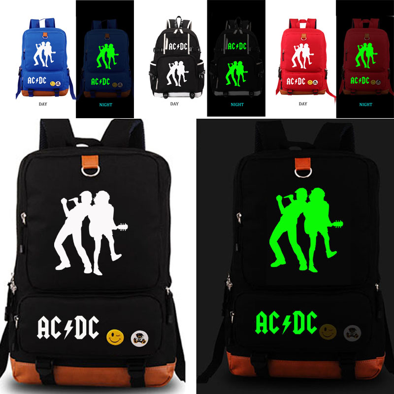 AC/DC noctilucous school bag Band backpack student school bag Daily backpack men women Rucksack
