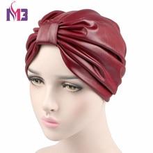 New Fashion Women Turban PU Leather Ladies Stretchy Headband Hijab Turbante Hat Headwrap