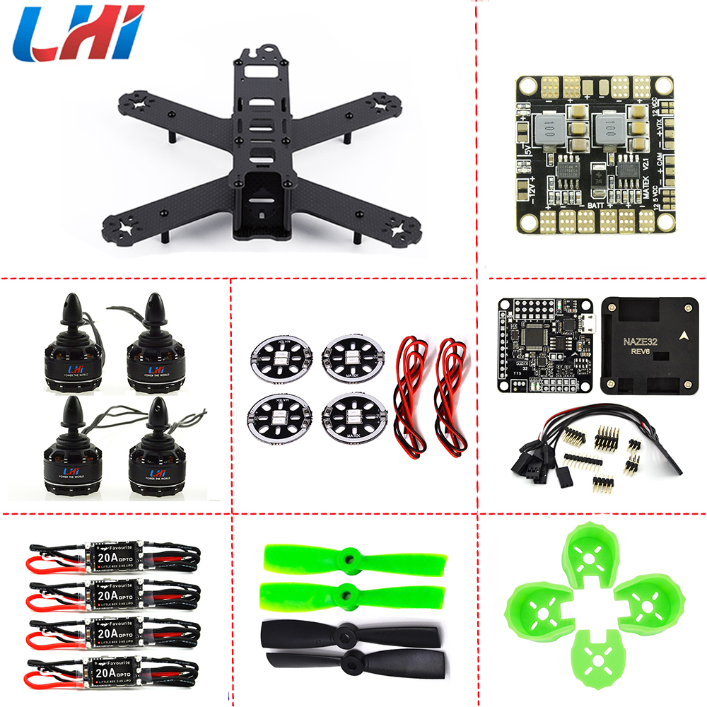 FPV drone with camera quadcopter FPV ARF 210mm Pure Carbon Fiber Frame + NAZE32 REV6 6 DOF 2300KV LittleBee 20A 4050 Propeller original naze32 rev6a mpu6500 32 bit 6 dof 10 dof flight controller for multicopter