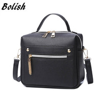 Fashion Zipper Women Bag High Quality PU Leather Women Top Handle Bag Small Size Messenger Bag