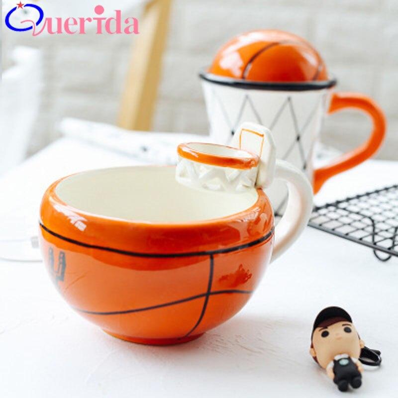 Creative Basketball Ceramic Cartoon Breakfast Cup Child Cute Mug Soccer Travel Gift Milk Coffee Cup