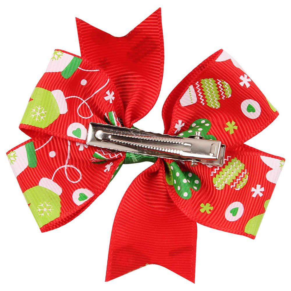 בייבי בנות חג המולד קישוטי Bowknot סיכת ראש כיסוי ראש Orquillas Pelo Infantil Horquillas דה Pelo Para Ni תינוק סיכת ראש