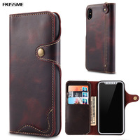 FKISSME Luxury Real Genuine Leather Case For Iphone 7 8 Plus X 6 6S Wallet Flip