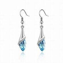 цена Classic Elegant Long Earrings For Women Fashion Geometric Crystal Gold Color Water Drop Earring Brincos Bijoux Jewelry