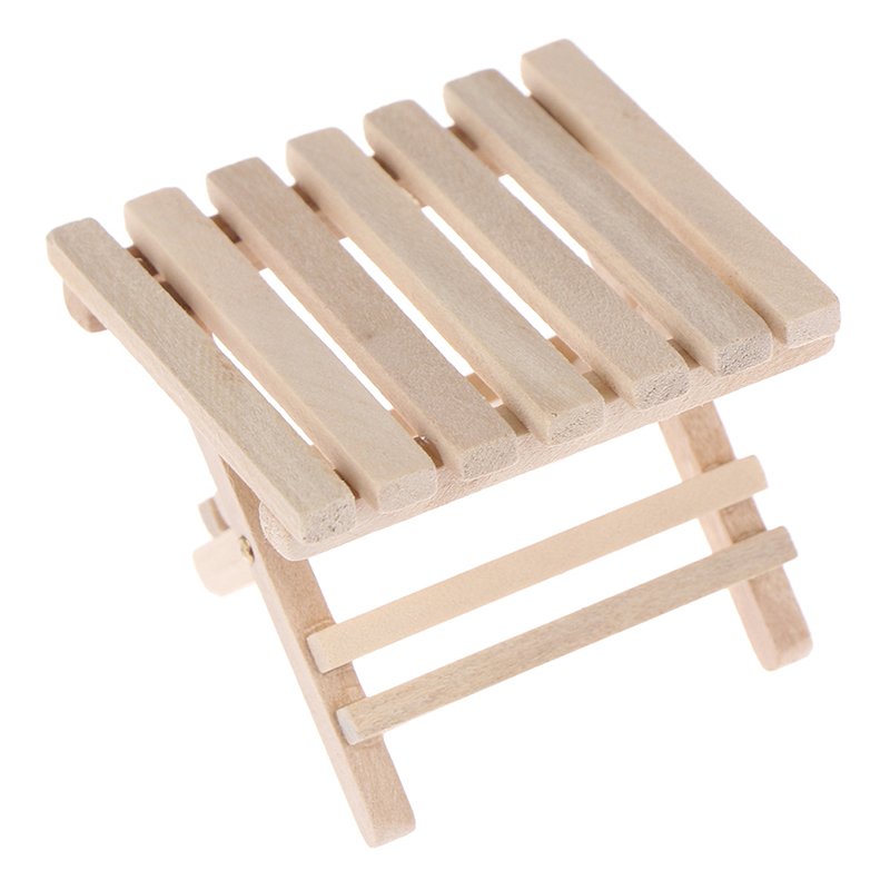 1:12 Doll House Wooden DIY Miniature Furniture Beach Folding Table For Kids Toys For Mini Furniture Toys Gifts For Children