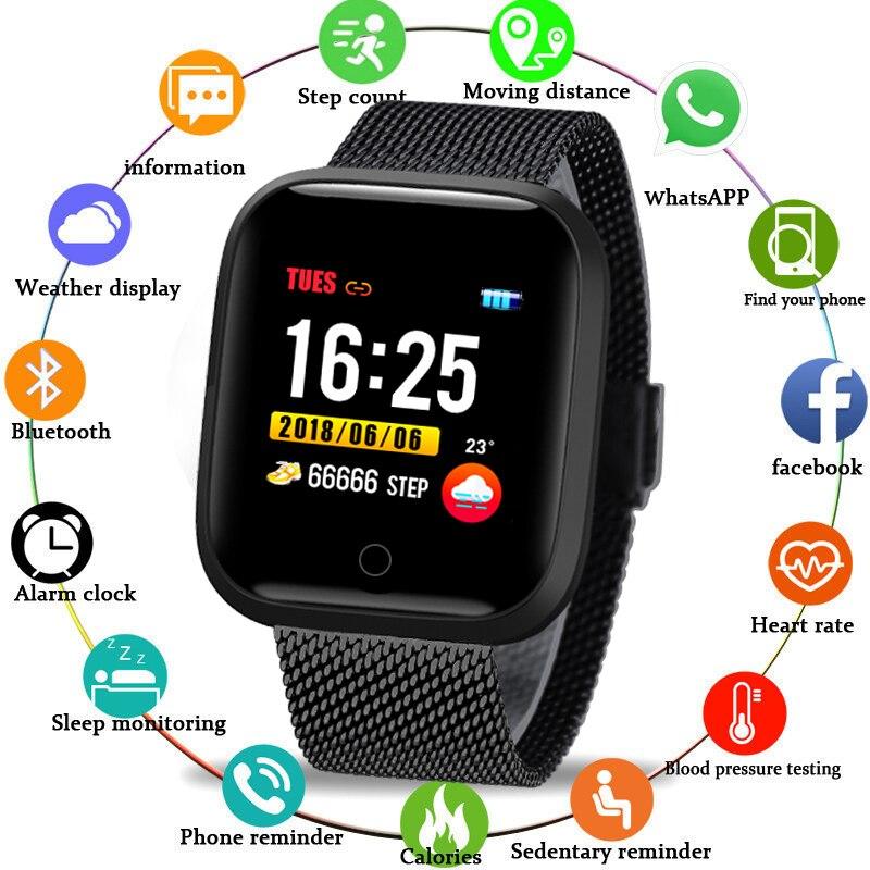 BANGWEI inteligente reloj de las mujeres de los hombres IP68 natación impermeable reloj deportivo Multi-función deportes temporizador reloj electrónico para Android IOS